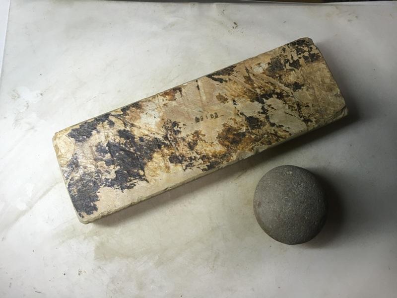 画像3: 天然砥石 正本山 山城銘砥中世中山 戸前烈梨地むしろ肌八寸40で六無地1.2Kg 9163