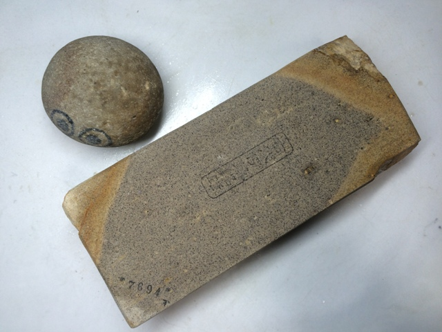画像1: 天然砥石 古代伊豫銘砥 のみ 鉋 包丁 硬口むらさき 7694