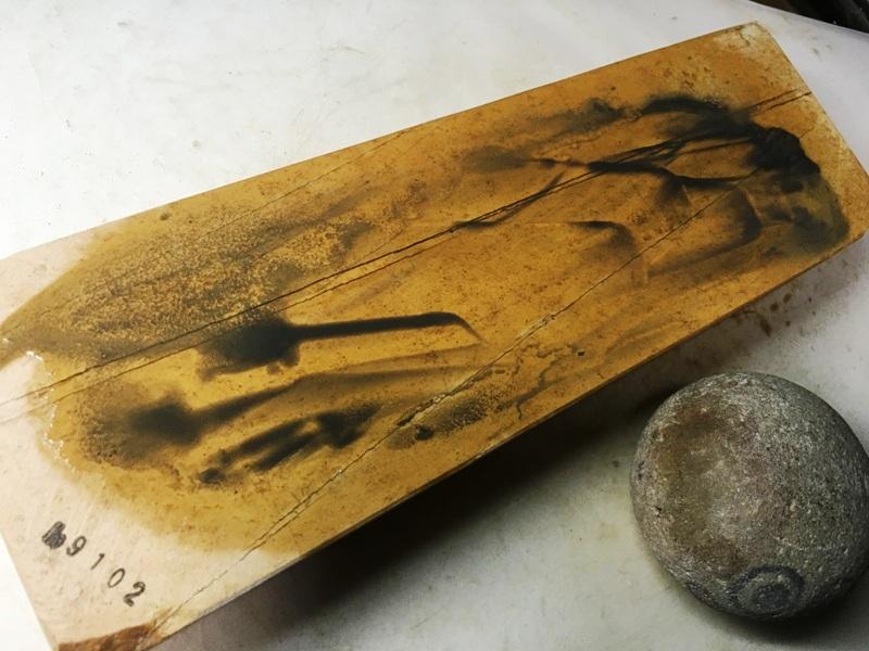 画像4: 天然砥石 正本山 山城銘砥奥殿本巣板オレンジ梨八寸傷一1.4Kg 9102