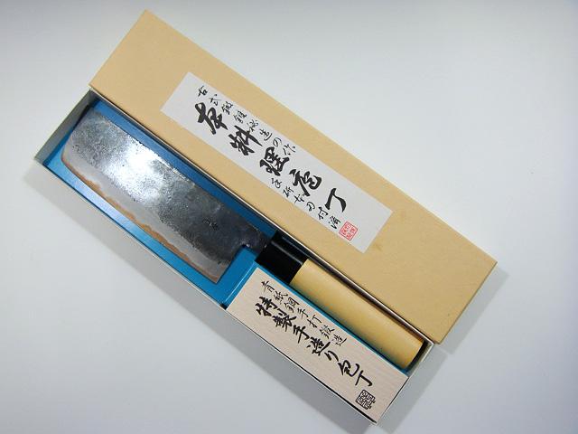 画像1: 田中一之刃物製作所 青紙鋼手打鍛造 特製手造り包丁 菜切 165mm