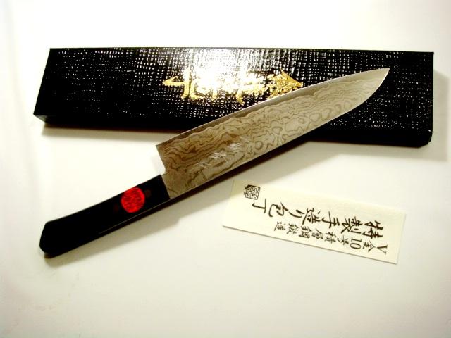 画像1: 【おとも付】田中一之 不錆V金10号 ステンダマスカス 剣型包丁 180mm 強化木柄