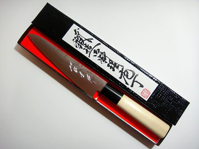 画像1: 送料無料 田中一之刃物製作所 ダマスカス16層鍛造包丁 ぺティーナイフ 150mm